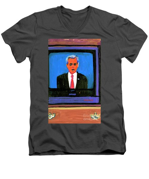 President George Bush Debate 2004 Men's V-Neck T-Shirt by Candace Lovely