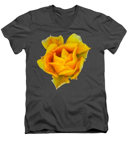 Prickly Pear Flower H11 Men's V-Neck T-Shirt by Mark Myhaver