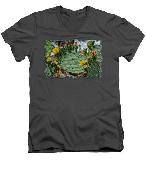 Prickly Pear Flowers Op46 Men's V-Neck T-Shirt by Mark Myhaver