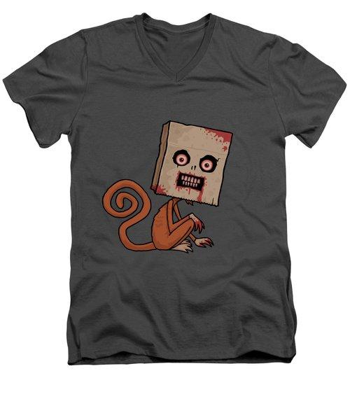 Psycho Sack Monkey Men's V-Neck T-Shirt by John Schwegel