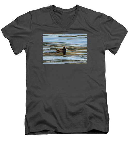 Puffin Reflected Men's V-Neck T-Shirt by Mike Dawson