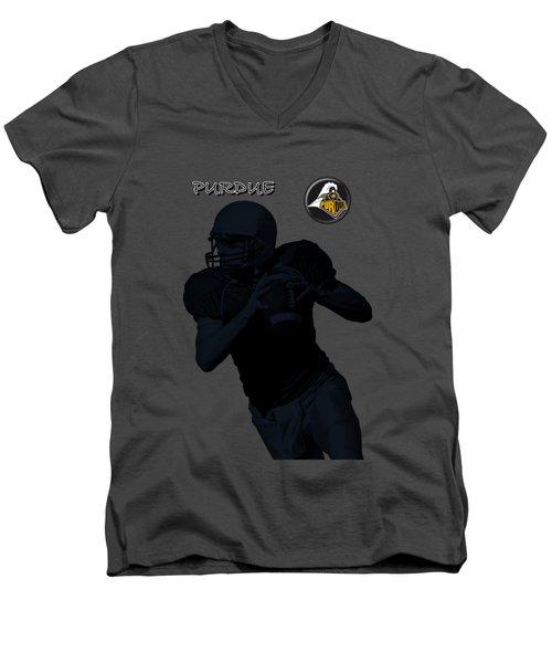 Purdue Football Men's V-Neck T-Shirt by David Dehner
