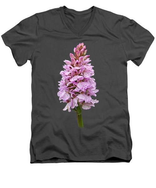 Radiant Wild Pink Spotted Orchid Men's V-Neck T-Shirt by Gill Billington