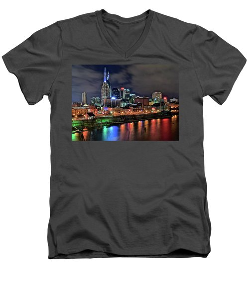 Rainbow On The River Men's V-Neck T-Shirt by Frozen in Time Fine Art Photography