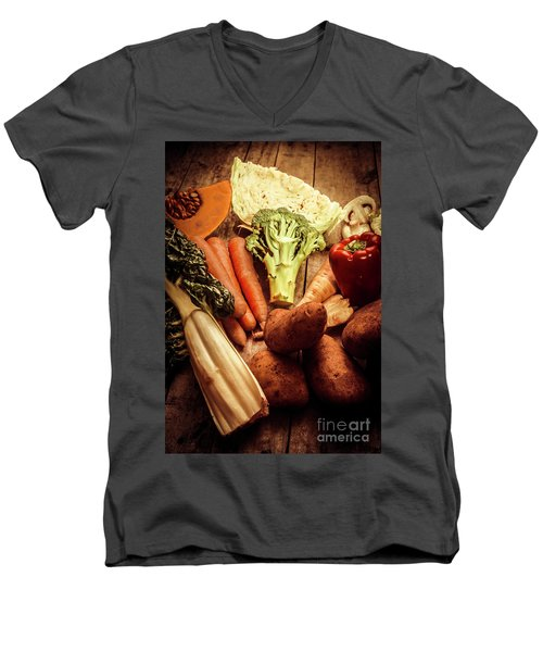 Raw Vegetables On Wooden Background Men's V-Neck T-Shirt by Jorgo Photography - Wall Art Gallery