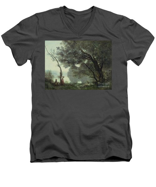 Recollections Of Mortefontaine Men's V-Neck T-Shirt by Jean Baptiste Corot