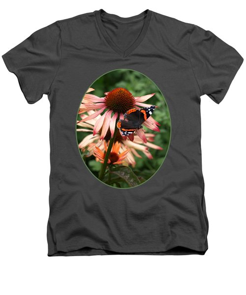 Red Admiral On Coneflower Men's V-Neck T-Shirt by Gill Billington