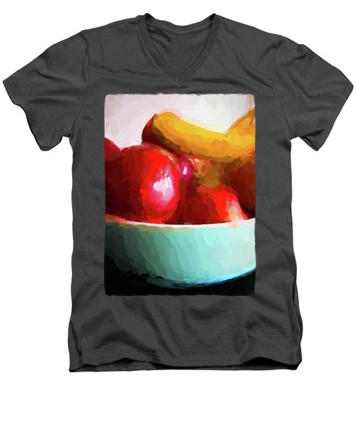 Red Apples In A Blue Bowl Men's V-Neck T-Shirt by Jackie VanO