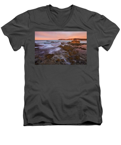 Red Dawning Men's V-Neck T-Shirt by Mike  Dawson
