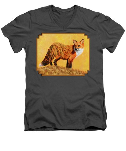 Red Fox Painting - Looking Back Men's V-Neck T-Shirt by Crista Forest