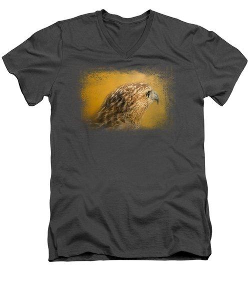 Red Tailed Hawk At Sunset Men's V-Neck T-Shirt by Jai Johnson