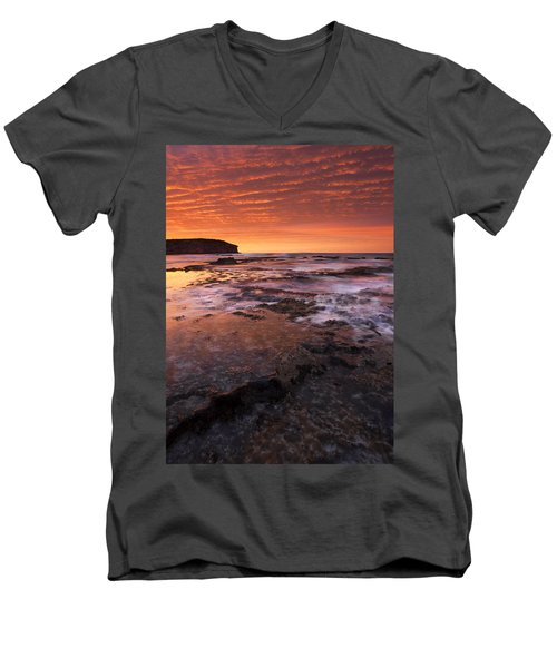 Red Tides Men's V-Neck T-Shirt by Mike  Dawson