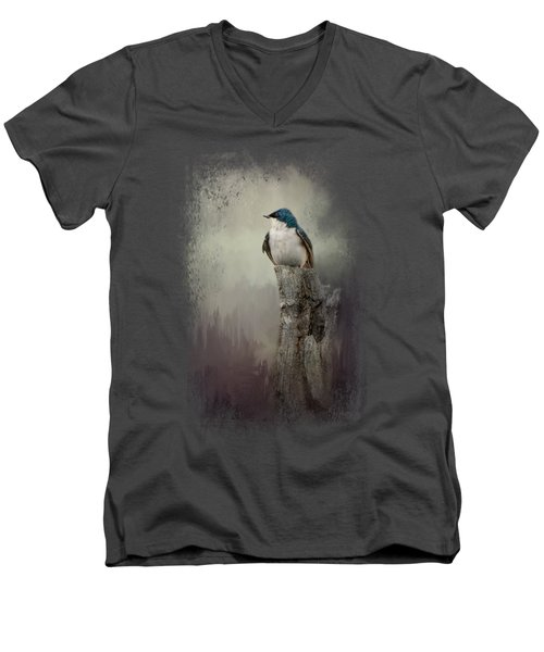 Resting Tree Swallow Men's V-Neck T-Shirt by Jai Johnson