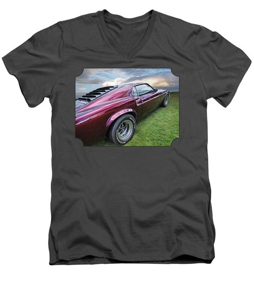 Rich Cherry - '69 Mustang Men's V-Neck T-Shirt by Gill Billington