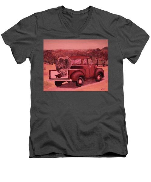 Ridin' With Razorbacks 3 Men's V-Neck T-Shirt by Belinda Nagy