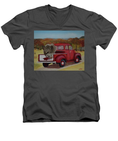 Ridin' With Razorbacks Men's V-Neck T-Shirt by Belinda Nagy