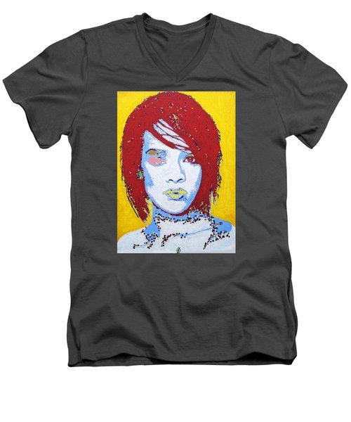Rihanna  Men's V-Neck T-Shirt by Stormm Bradshaw