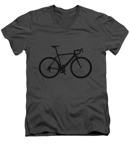 Road Bike Silhouette - Black On Red Canvas Men's V-Neck T-Shirt by Serge Averbukh