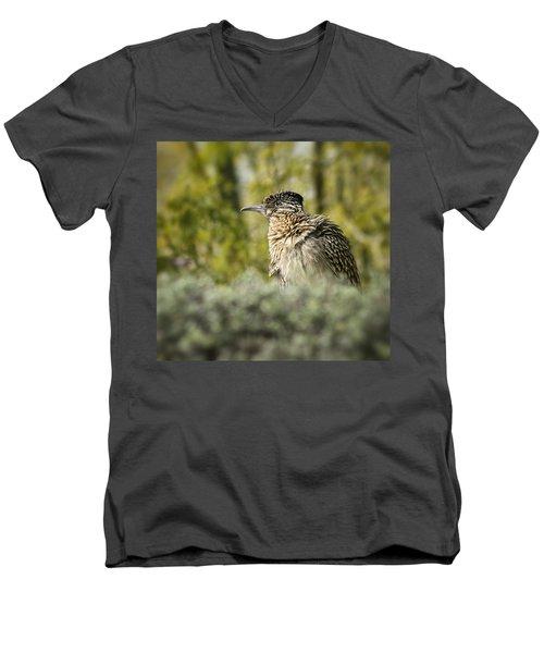 Roadrunner On Guard  Men's V-Neck T-Shirt by Saija  Lehtonen