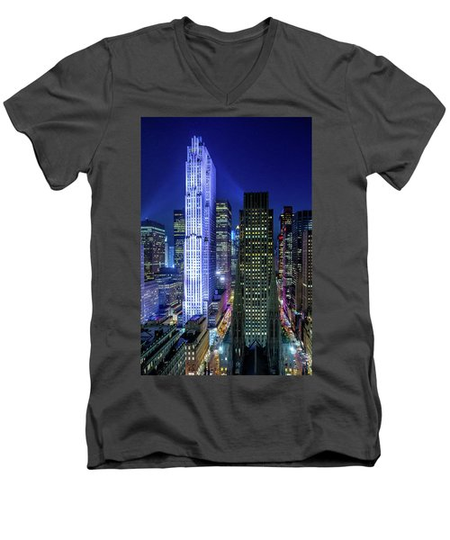 Men's V-Neck T-Shirt featuring the photograph Rockefeller At Night by M G Whittingham