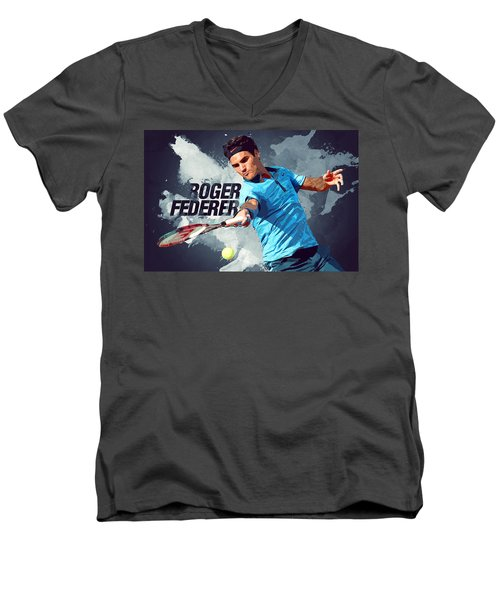 Roger Federer Men's V-Neck T-Shirt by Semih Yurdabak