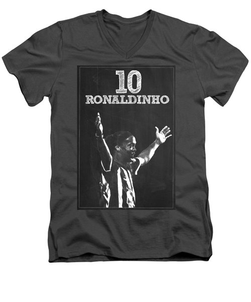 Ronaldinho Men's V-Neck T-Shirt by Semih Yurdabak