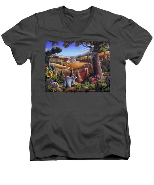 Rural Country Farm Life Landscape Folk Art Raccoon Squirrel Rustic Americana Scene  Men's V-Neck T-Shirt by Walt Curlee