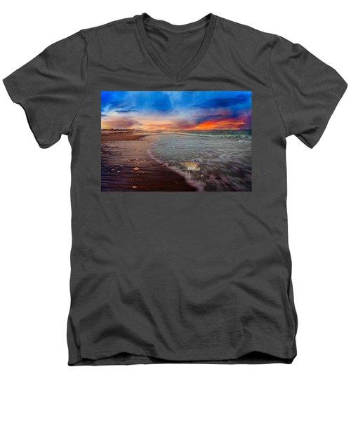 Sandpiper Sunrise Men's V-Neck T-Shirt by Betsy Knapp