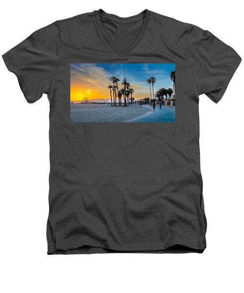 Santa Monica Sunset Men's V-Neck T-Shirt by Az Jackson