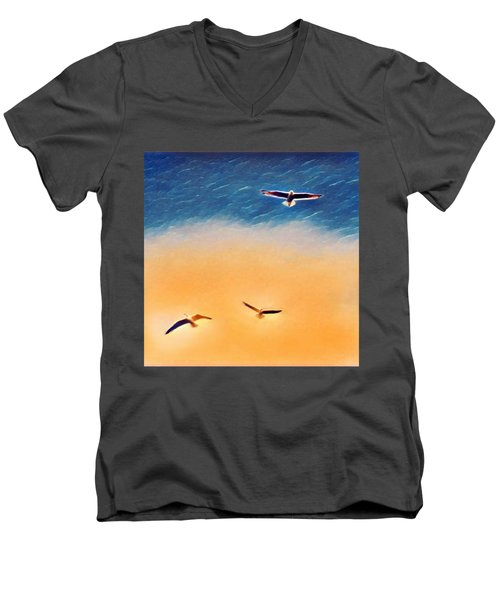 Seagulls Flying In The Burning Sky Men's V-Neck T-Shirt by Paul Mc Namara