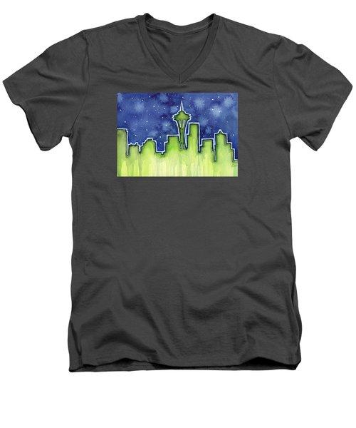 Seattle Night Sky Watercolor Men's V-Neck T-Shirt by Olga Shvartsur