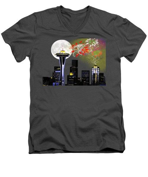 Seattle Skyline Men's V-Neck T-Shirt by Methune Hively