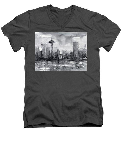 Seattle Skyline Painting Watercolor  Men's V-Neck T-Shirt by Olga Shvartsur
