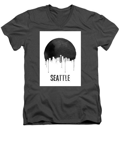 Seattle Skyline White Men's V-Neck T-Shirt by Naxart Studio