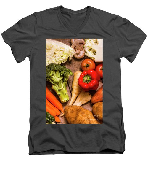 Selection Of Fresh Vegetables On A Rustic Table Men's V-Neck T-Shirt by Jorgo Photography - Wall Art Gallery
