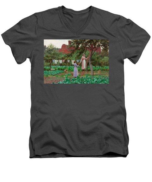 September Men's V-Neck T-Shirt by Edmund Blair Leighton