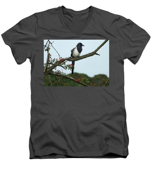 September Magpie Men's V-Neck T-Shirt by Philip Openshaw