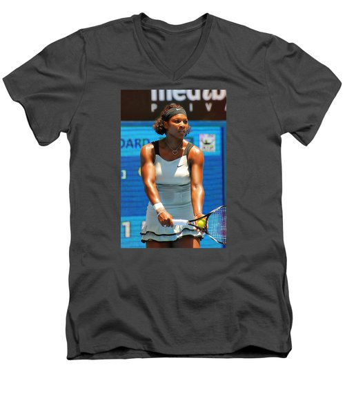 Serena Williams Men's V-Neck T-Shirt by Andrei SKY