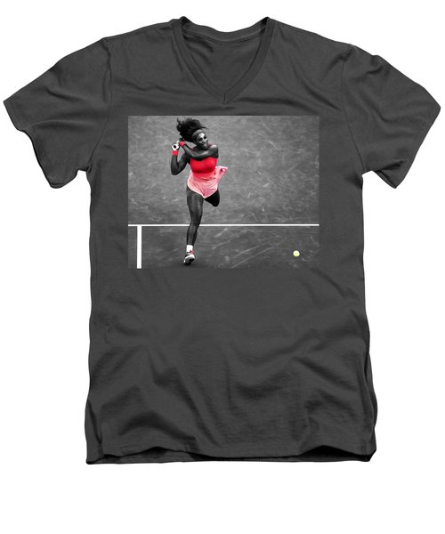 Serena Williams Strong Return Men's V-Neck T-Shirt by Brian Reaves