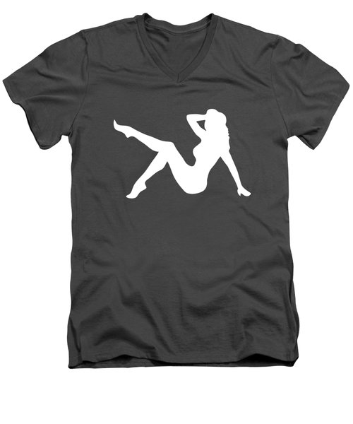 Sexy Trucker Girl White Tee Men's V-Neck T-Shirt by Edward Fielding