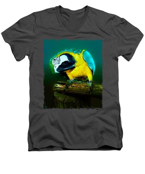 Silly Maya The Macaw Parrot Men's V-Neck T-Shirt by Linda Koelbel