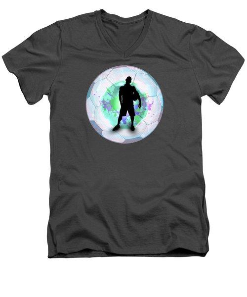 Soccer Player Posing With Ball Soccer Background Men's V-Neck T-Shirt by Elaine Plesser
