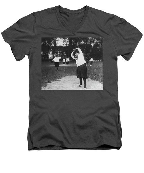 Softball Game Men's V-Neck T-Shirt by Granger