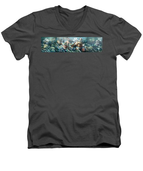 Something Fowl Afloat 2b Men's V-Neck T-Shirt by Patrick Anthony Pierson