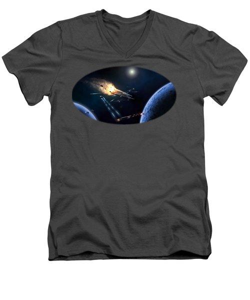 Space Battle I Men's V-Neck T-Shirt by Carlos M R Alves