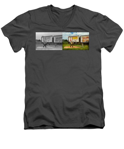Sport - Baseball - America's Past Time 1943 - Side By Side Men's V-Neck T-Shirt by Mike Savad