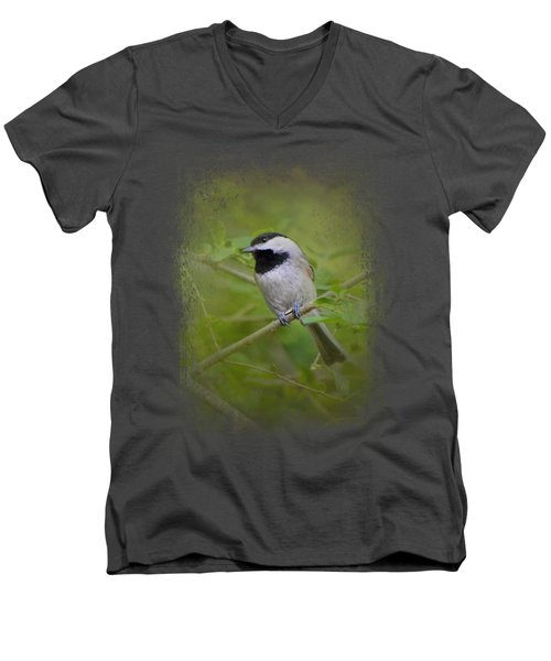 Spring Chickadee Men's V-Neck T-Shirt by Jai Johnson