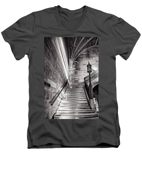 Stairs Of The Past Men's V-Neck T-Shirt by CJ Schmit