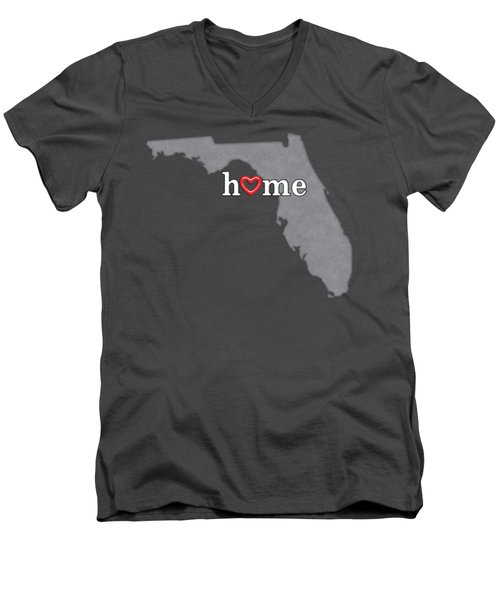 State Map Outline Florida With Heart In Home Men's V-Neck T-Shirt by Elaine Plesser