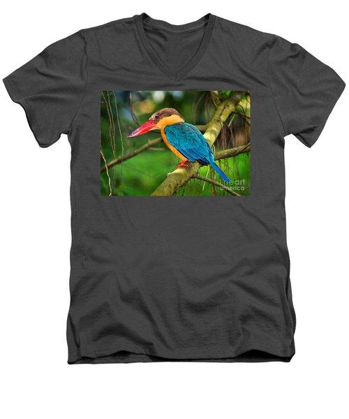 Stork-billed Kingfisher Men's V-Neck T-Shirt by Louise Heusinkveld